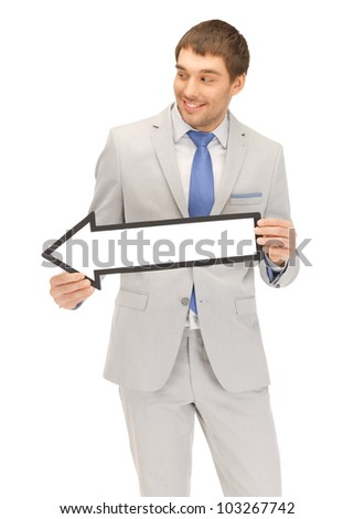 picture of attractive businessman with direction arrow sign - stock photo
