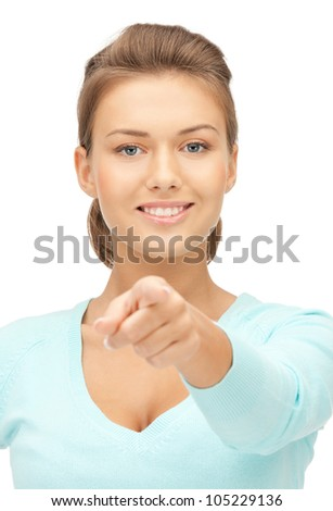 picture of attractive businesswoman pointing her finger - stock photo