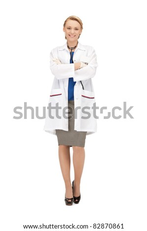picture of attractive female doctor with stethoscope - stock photo