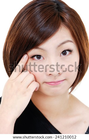 picture of attractive young woman hand gesture - stock photo