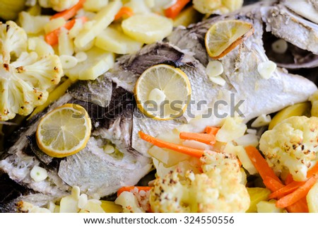 Picture of baked white fish with vegetables. Slices of lemon, carrot and cauliflower on studio indoor background. - stock photo