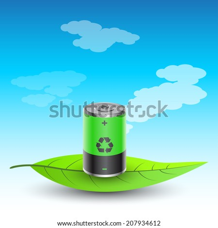 picture of battery charged with recycled energy on leaf - stock photo