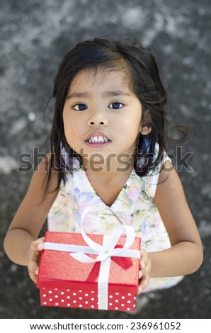 picture of beautiful girl with gift box - stock photo