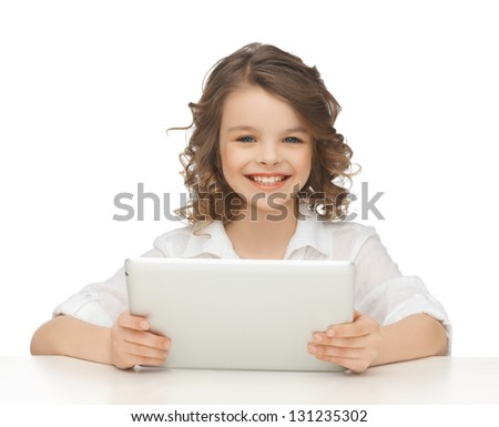 picture of beautiful girl with tablet pc