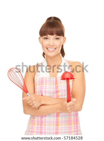 picture of beautiful housewife with red ladle - stock photo