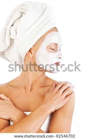 picture of beautiful lady with white towels - stock photo
