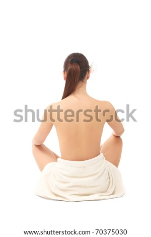 picture of beautiful lady with wite towels on white sand