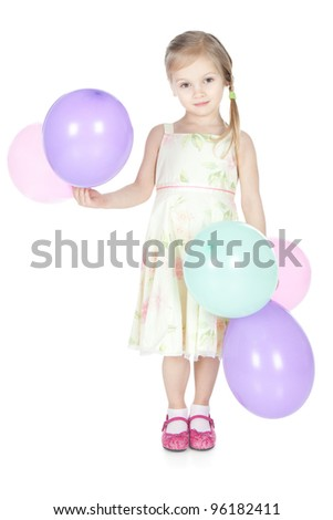 Picture of beautiful little girl with colorful balloons over white - stock photo
