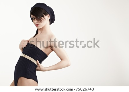 Picture of beautiful pin up woman - stock photo