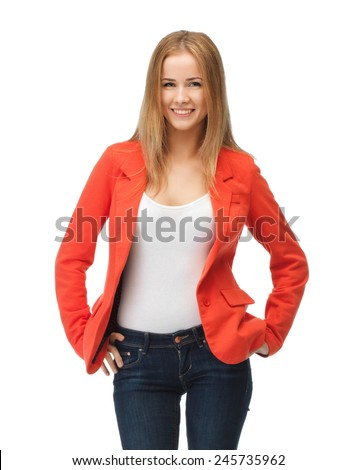 picture of beautiful teenage girl in casual clothes on high heels - stock photo