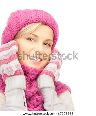picture of beautiful woman in winter hat - stock photo