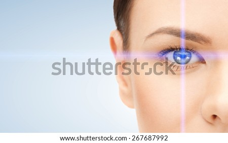 picture of beautiful woman pointing to eye - stock photo