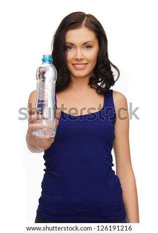 picture of beautiful woman with bottle of water - stock photo