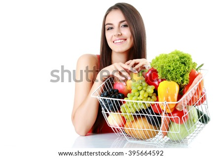 picture of beautiful woman with fruits and vegetables - stock photo