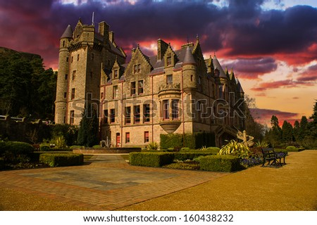 Picture of Belfast Castle in Northern Ireland during a colorful Sunset. - stock photo