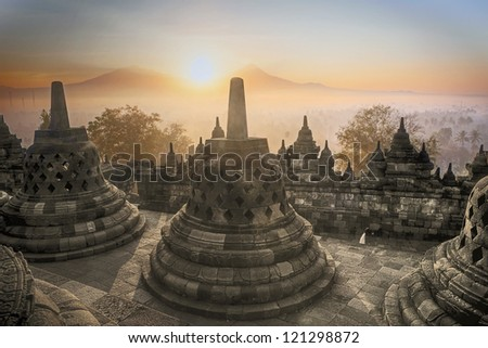 Picture of Borobudur Temple at sunrise in Java island,  Indonesia - stock photo