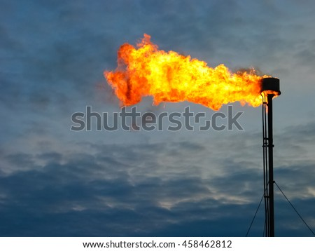 Picture of burning oil gas flare - stock photo