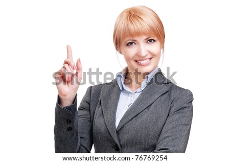 Picture of business woman making an idea gesture