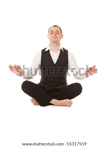 picture of businessman sitting in lotus pose