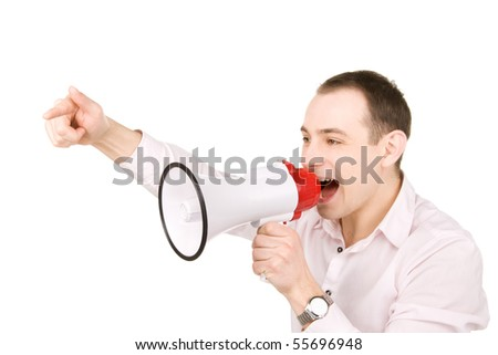 picture of businessman with megaphone over white