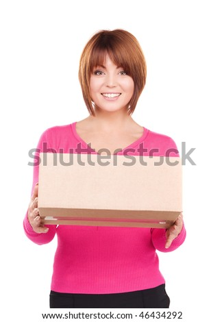 picture of businesswoman with parcel over white