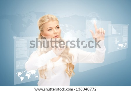 picture of businesswoman working with virtual screens - stock photo