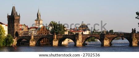 Picture of  Charles Bridge bridge crossing the river Vltava in Prague - stock photo