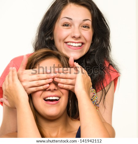 Picture of cheerful girls having fun and laughing - stock photo