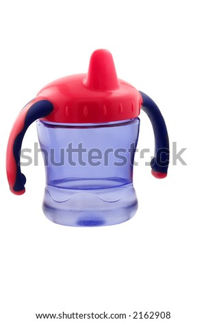 picture of child cup isolated on white with clipping path - stock photo
