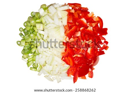 Picture of chopped paprika, onions, and spring onions