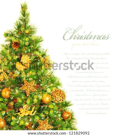 Picture of Christmas tree border, green pine tree decorated with cone, ribbons, golden angels and bauble isolated on white background, copy space, traditional celebration, New Year event, studio shot - stock photo