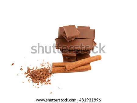Picture of cinnamon and chocolate isolated on white