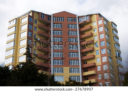 picture of color modern building with windows
