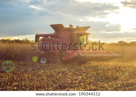 picture of combine harvesting corn on summer or autumn outdoors afternoon industry details - stock photo