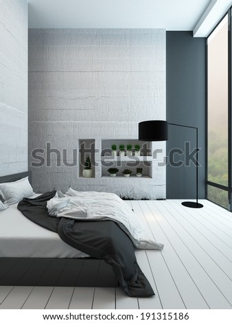Picture of contemporary white bedroom with alcove - stock photo