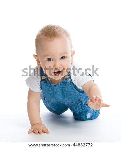 picture of crawling baby boy - stock photo