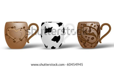 Picture of 3 cups. Coffee, milk and hot chocolate - stock photo