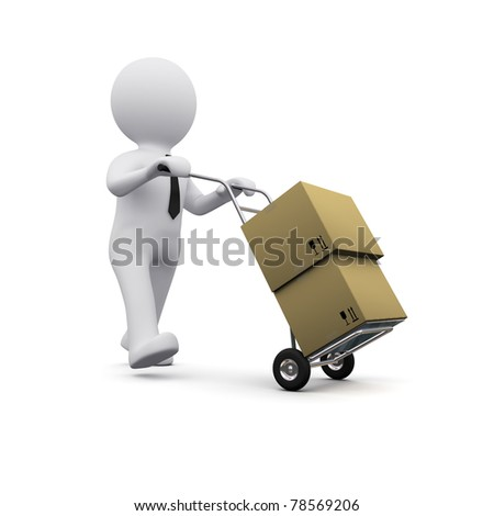 picture of 3D man transporting cargo boxes - stock photo