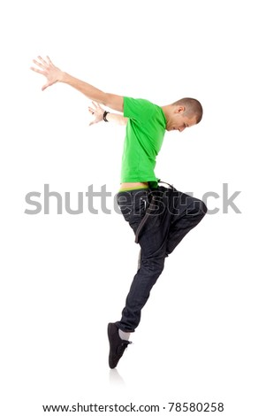 picture of dancer posing on white background - stock photo