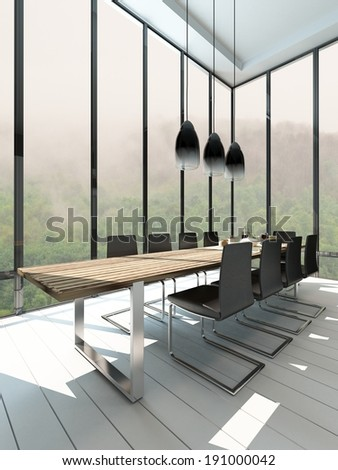 Picture of Dining room interior with wooden table - stock photo