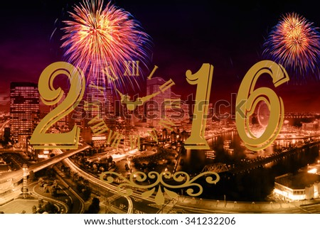Picture of evening cityscape with bright fireworks. Festive 2016 image on urban festive background.