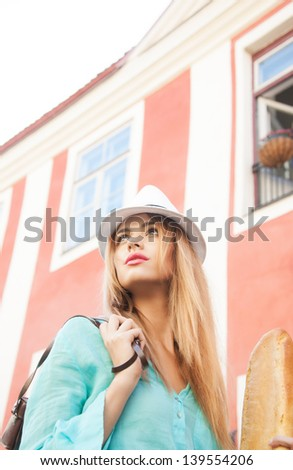 picture of fashion model in the city - stock photo