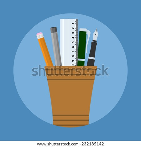picture of glass with two pens, two pencils and ruler, flat style illustration - stock photo