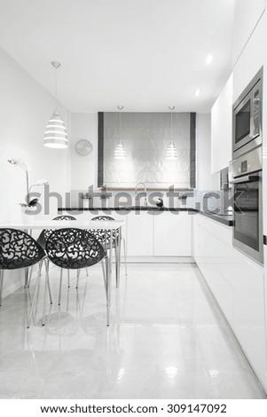 Picture of gleaming kitchen interior in contemporary design - stock photo