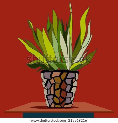 Picture of hand drawn buch in the flower-pot - stock photo
