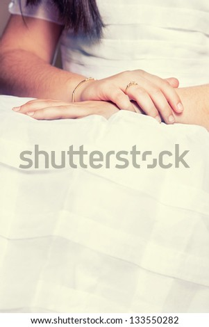 Picture of Hands of a little Girl in the First Communion Day - stock photo