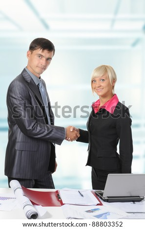 picture of handshake two business partners, when signing contract. - stock photo