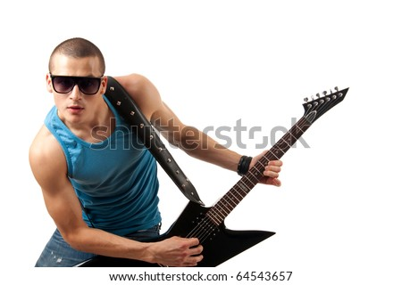 Picture of handsome guitarist in sunglasses isolated on white - stock photo