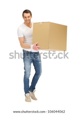 picture of handsome man with big box.
