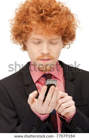 picture of handsome man with cell phone - stock photo